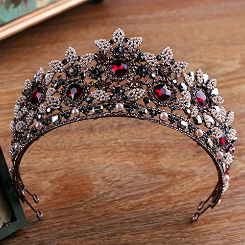 Queen Retro Baroque King'S Crown Tiara Diadem Bride Bridesmaid Crown For Women Red Crystal Wedding Bridal Headdress Prom Show Party Jewelry Accessories Hq-59