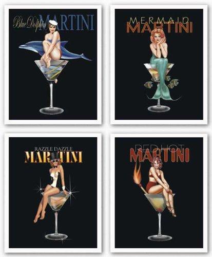 Martini Set by Ralph Burch Pin-Up Girls Mermaid Dolphin 8