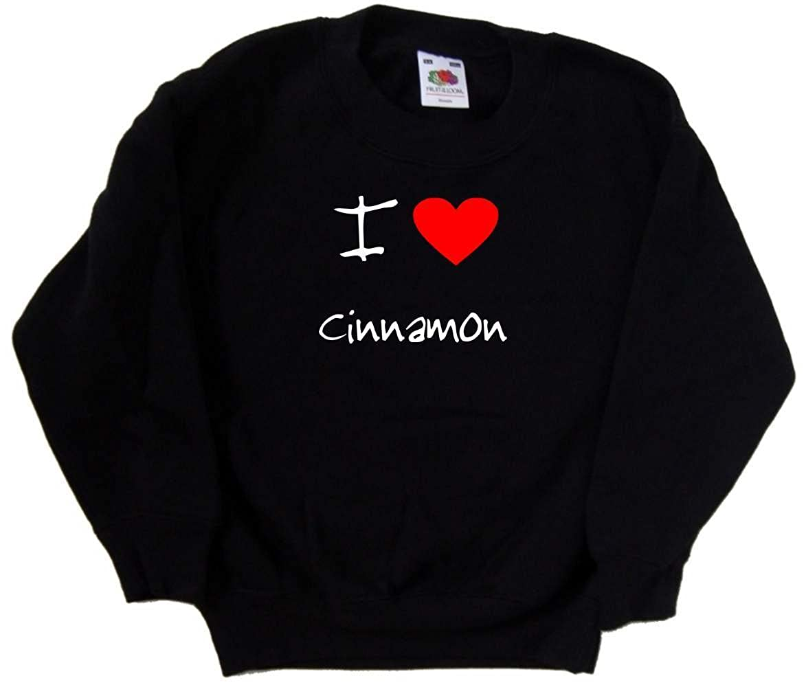 I Love Heart Cinnamon Black Kids Sweatshirt
