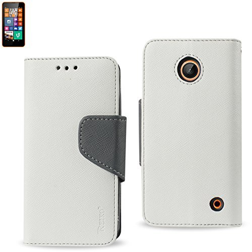 Reiko 3-In-1 Wallet Case for Nokia Lumia 635 with Interior Leather-Like Material and Polymer Cover - Retail Packaging - White