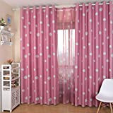 Freahap Blackout Curtain Polyester Clouds Pastoral Printed Blackout Curtain Pink