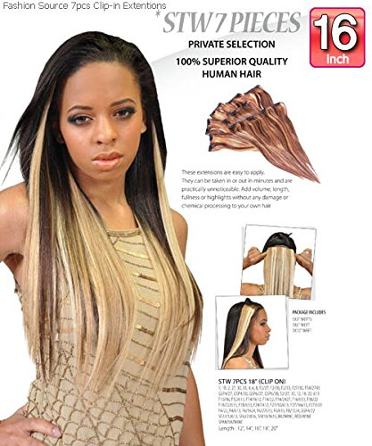 Fashion Source 100% Human Hair Clip In Extensions (STW 7P...