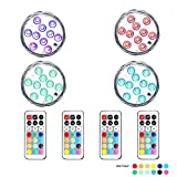 10 LED Lamp Beads Remote Controlled RGB Submersible LED Lights AAA Battery Operated Multi Color Waterproof LED Decorative Lights for Lighting Up Vase, Bowl, Fish Tank, Wedding, Centerpiece, Halloween, Party Lights (4pcs LED)