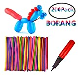 Borang 200PCS 260Q Twisting Animal Balloons Balloon Pump Assorted Color Thickening Latex Twisting Modeling Long Magic Balloons Animal Shape Weddings, Birthdays Clowns, Party Decorations