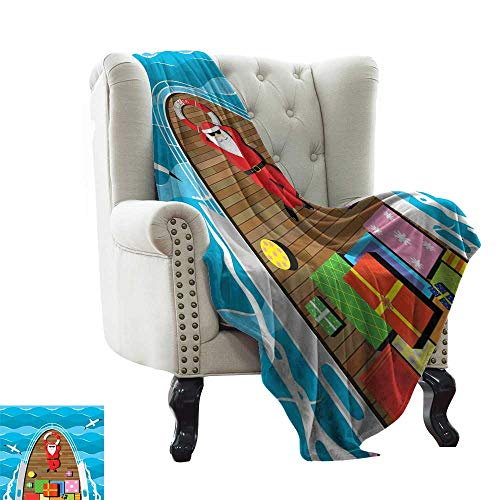 (Baby Blanket Yarn Santa,Father Christmas Lying on The Deck of a Yacht at Sea Carrier of Surprise Presents,Multicolor Indoor/Outdoor, Comfortable for All Seasons 50