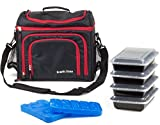 Meal Prep Bag by Ecofit Zone - Meal management System with 4 Reusable Portion Control Containers and 2 Ice Packs for Weight Management