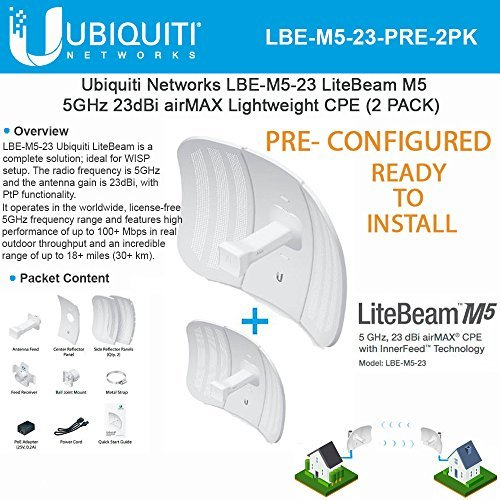 LiteBeam M5 LBE-M5-23-US 23dBi Long-Range Wireless Antenna PoE Lightweight Airmax PRECONFIGURED - Ready to Install- 2 Pack - ()