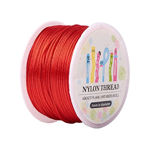Pandahall 1 Roll 1mm x 100yards Red Rattail Satin Nylon Trim Cord Chinese Knot (Satin Red Cord)