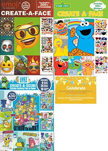 Create a Face Bundle: 1 Emoji Create-A-Face, 1 Sesame Street Create-A-Face, 1 Lost Kitties Create A Scene Sticker Book with Celebrate Post Card