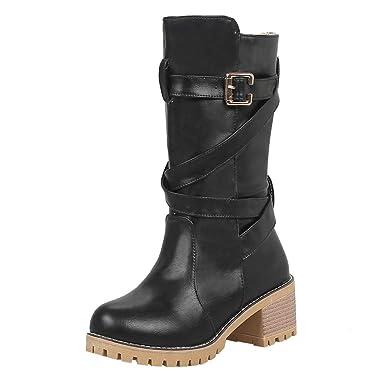 aff8174467e6 DENER❤ Women Ladies Mid Calf Boots with Block Heels