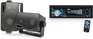 3-Way Mini Box Speaker System - 3.5 Inch 200 Watt Weatherproof Marine Grade Mount Speakers & Marine Bluetooth Stereo Radio - 12v Single DIN Style Boat in Dash Radio Receiver System with Built-in Mic