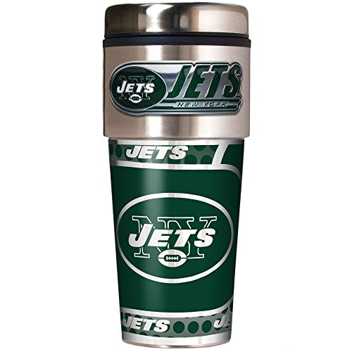 NFL New York Jets Metallic Travel Tumbler, Stainless Steel and Black Vinyl, 16-Ounce