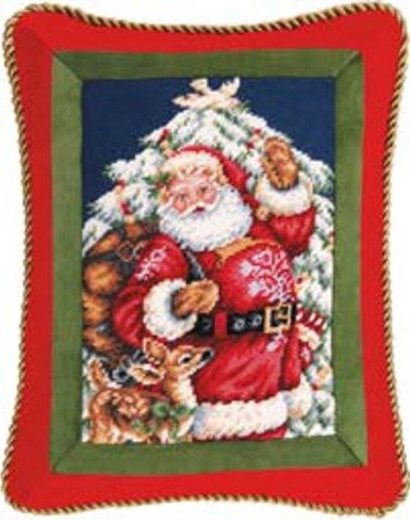 14'' x 18'' Needlepoint Pillow - Santa with Deer by C & F Enterprises