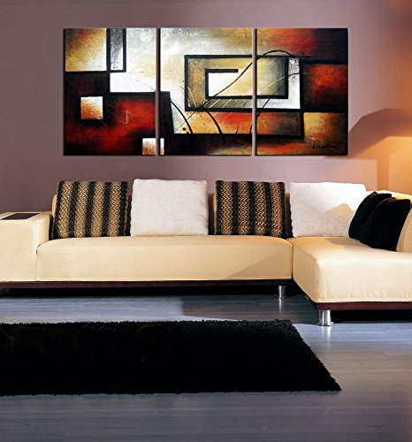 ARTLAND Modern 100 Hand Painted Abstract Oil Painting On Canvas The Maze Of Memory 3 Piece Gallery Wrapped Framed Wall Art Ready To Hang For Living Room