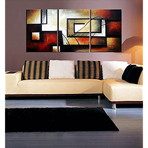 ARTLAND Modern 100% Hand Painted Abstract Oil Painting on Canvas  The Maze Of Memory  3-Piece Gallery-Wrapped Framed Wall Art Ready to Hang for Living Room ... & Abstract Large Wall Art for Living Room: Amazon.com