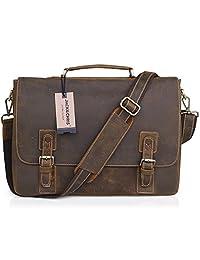 Jack&chris Men's Genuine Leather Messenger Bag Shoullder Bag Laptop Briefcase, NM1860