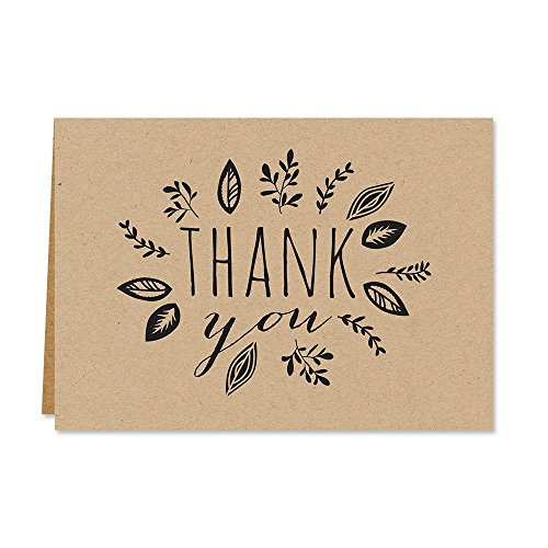 Kraft Leaves Thank Note Card product image