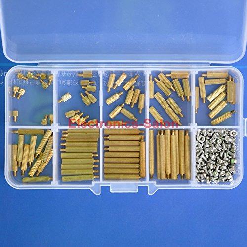 Electronics-Salon M2 Brass Male-Female Standoff Screw Nut Assortment Kit, Standoff 3mm 5mm 8mm 10mm 12mm 15mm 18mm 20mm 25mm, Nut M2, Screw M2 x 4mm.