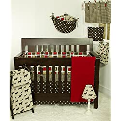 Cotton Tale Designs Houndstooth Boy's Bedding Set, Red/Brown, 7 Piece dog