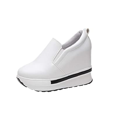 0128df807b6 Boomboom Women'Shoes Hidden Wedges Ankle Boots Fashion Sneaker High Top  Flats Platform Casual Shoes for Women