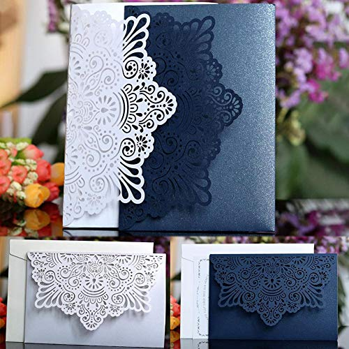Envelopments Wedding Invitations Pocketfold Wedding Invitations 10pcs/set European Style Lace Wedding Invitations Cards Laser Cut Tri-Fold Business Invitation Cards Wedding Party Decoration (Random)
