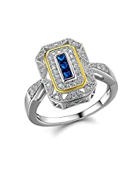 Newshe Vintage Princess Created Blue Sapphire 925 Sterling Silver Gemstone Ring Size 5-10