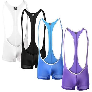 77499d244c Amazon.com: Newest Men Sexy Leotard Sport Wear Swimwear Bodysuit 4  Color#wh41: Clothing
