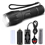 LED Torch, Mosteck Torches LED Super Bright 2000 lumens, Rechargeable Torch Light LED Flashlight with 5 Modes, LED Tourch for Camping Hiking Biking Emergency Use (18650 Battery & Charger Included)