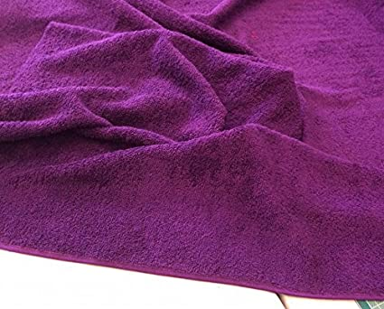 63e6d5d9 PURPLE Coloured Cotton Towelling Fabric -Thick and Heavy - 100% cotton