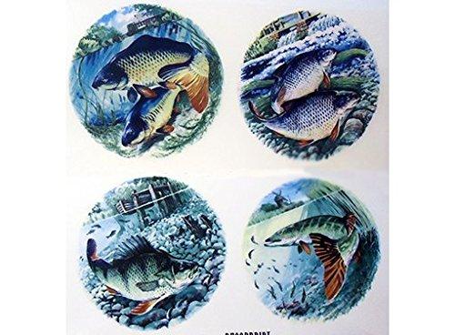 1994 Fish Ocean Waterslide Ceramic Decals by The Sheet 3 Dia 8 pcs