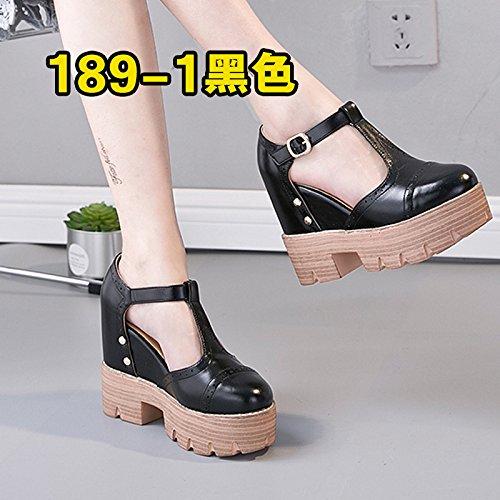 Xing Lin Sandalias De Cuero Zapatos De Mujer Floja Primavera Y Otoño Hebilla Superficial Damas Única Plataforma Zapatos Con Tacón Grueso Sandalias Black -1