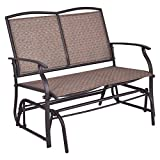 White Bear & Brown Rabbit Glider Rocking Bench Double 2 Person Chair Loveseat Armchair Backyard Patio