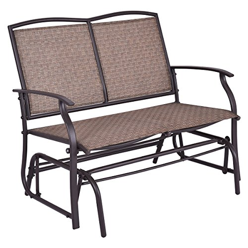 Giantex Patio Glider Bench Outdoor, Swing Loveseat, Patio Swing Rocker Lounge Glider Chair (Swings Patio And Furniture Gliders)