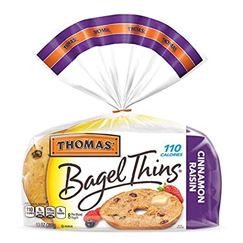 Thomas', Cinnamon Raisin Bagel Thins, 8 ct, 13 oz - 2 Packs (Best Whole Wheat Bagels)