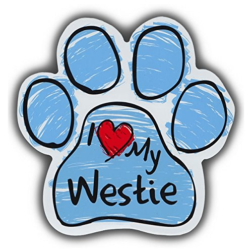 Refrigerator Magnet - Blue Scribble Dog Paw Magnet - I Love My Westie (West Highland Terrier) - 5.5