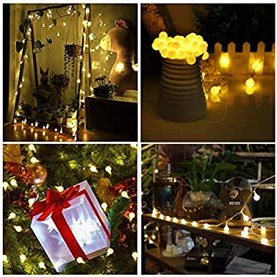 ALOVECO Battery Operated String Lights, 15ft 40 LED Christmas String Lights, 8 Lighting Modes with Timer, Waterproof Globe Fairy String Lights for Christmas Tree, Bedroom, Garden, Wedding Decorations : Garden & Outdoor