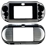 For PlayStation PS VITA 2000 Slim (PCH-2000 Slim Only) Hybrid Brushed Aluminum Metal Plated Crystal Case Cover + Screen Protector (Many Colors Available) (Silver)