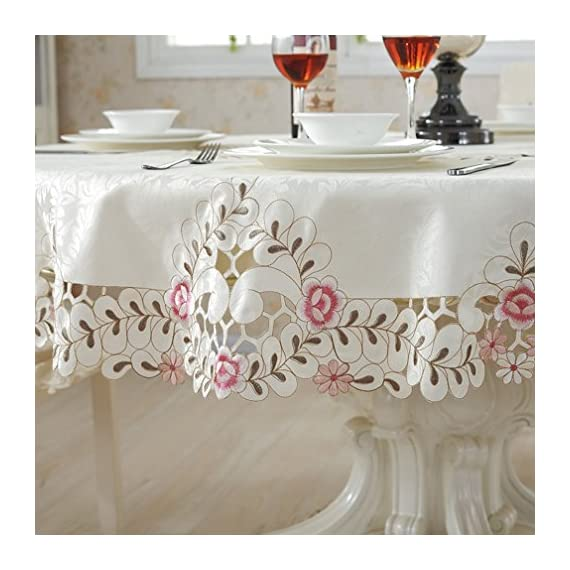 QXFSMILE Embroidered Floral Fabric Classy Hand-cut Work Round Tablecloth White Round 70 Inch - This tablecloth is very well constructed and durable with classy look The color was vibrant and the quality was great Machine wash cold, tumble dry low, no bleach. - tablecloths, kitchen-dining-room-table-linens, kitchen-dining-room - 51P6BRYi6BL. SS570  -