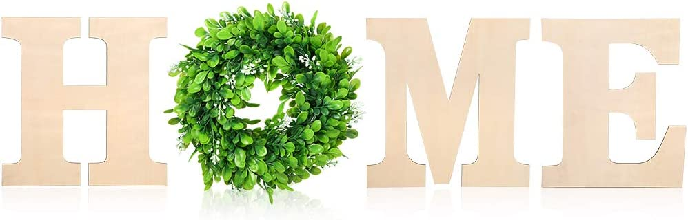 Caydo 12 Inch Unfinished Self-Adhesive Wooden Home Letters with 12 Inch Artificial Boxwood Wreath for Home Wall Decoration