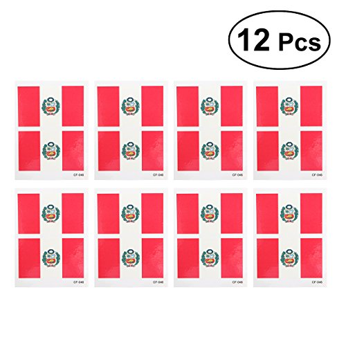 Cheap 12 Pcs Country Flag Tattoo Stickers Fashion Sports Body Art Tattoo Decals for 2018 World Cup (Peru) syE1mFW9