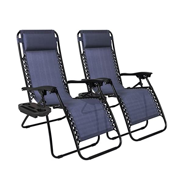 Best Choice Products Set of 2 Zero Gravity Chairs - Navy Blue