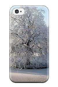 New Tpu Hard Case Premium Iphone 4/4s Skin Case Cover(the White Tree)
