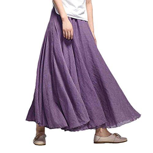 Femme Jupe Bohme Tour de Taille Elastique Casual en Coton Lin Maxi Robe Mariage Plage Violet fonc