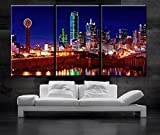 Original by BoxColors Large 30''x 60'' 3 Panels 30''x20'' Ea Art Canvas Print Beautiful Dallas Tx Skyline Multi color Wall Home (Included Framed 1.5'' Depth)