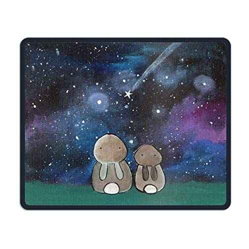 Starry Night Sky Rabbit Mouse pad Gaming Mouse pad Mousepad Nonslip Rubber Backing ()