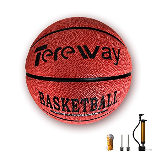 Tereway Basketball Indoor/Outdoor Games Hygroscopic Leather Basketball Official Size 7-29.5″ with Pump, Needles and Basketball Net