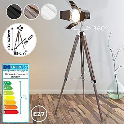 Lámpara de Pie Proyector con Trípode de Madera - CEE: A++ a E, Diseño Foco Cinema, Altura regulable, Estilo Vintage y Retro - Iluminacion de Lectura, Lámpara de Suelo, de Salón, Dormitorio: