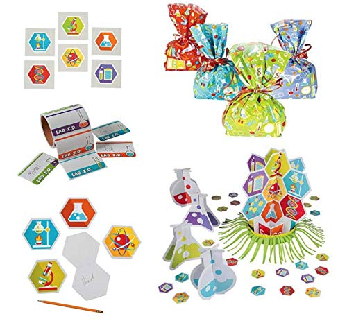 Fun Express Science Party Bundle | Table Decor Kit, Treat Bags, Name Tags, Temporary Tattoos, Notepads | Great for Themed Events, Birthday Celebrations, Science Fairs (Table Decor Kit)
