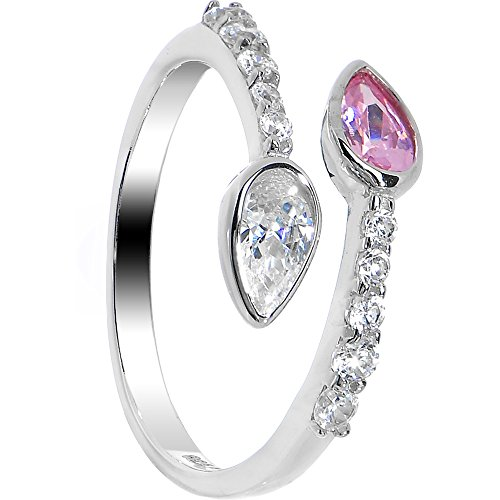 Au Toe Ring - Body Candy 925 Sterling Silver Pink and Clear Sparkle Teardrop Toe Ring