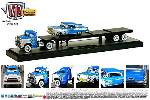 1958 CHEVROLET LCF (Blue) & 1957 CHEVROLET BEL AIR (Blue) * Auto-Haulers Release 17 * M2 Machines 2015 Castline Premium Edition 1:64 Scale Die-Cast Vehicle Truck & Set (15-16)